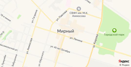 Карта микрорайона Заречный в Мирном с улицами, домами и почтовыми отделениями со спутника онлайн