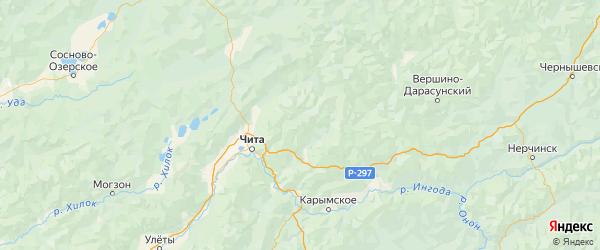 Карта Читинского района Забайкальского края с городами и населенными пунктами