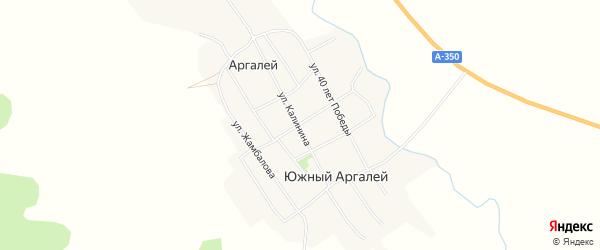 Карта села Южного Аргалея в Забайкальском крае с улицами и номерами домов