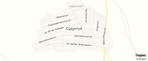Карта села Судунтуя в Забайкальском крае с улицами и номерами домов