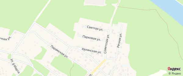 Парковая улица на карте поселка Таксимо с номерами домов