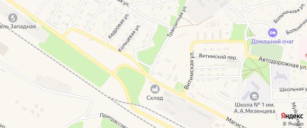 Транзитная улица на карте поселка Таксимо с номерами домов
