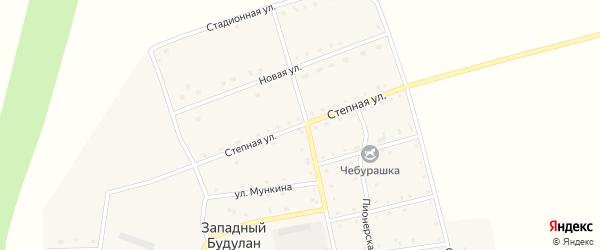 Степная улица на карте села Западного Будулана Забайкальского края с номерами домов