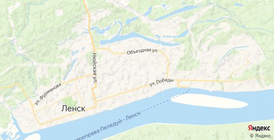 Карта Ленска с улицами и домами подробная. Показать со спутника номера домов онлайн