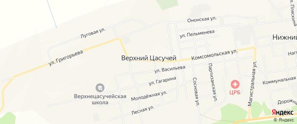 Карта села Верхнего Цасучея в Забайкальском крае с улицами и номерами домов