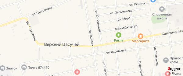 Улица Жукова на карте села Нижнего Цасучея Забайкальского края с номерами домов