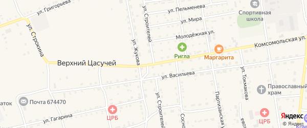 Улица Строителей на карте села Нижнего Цасучея Забайкальского края с номерами домов