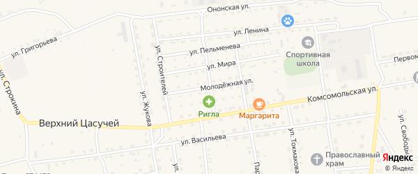 Молодежная улица на карте села Нижнего Цасучея Забайкальского края с номерами домов