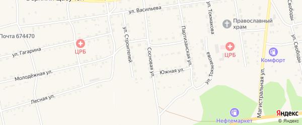 Сосновая улица на карте села Нижнего Цасучея Забайкальского края с номерами домов