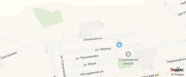 Ононская улица на карте села Нижнего Цасучея Забайкальского края с номерами домов