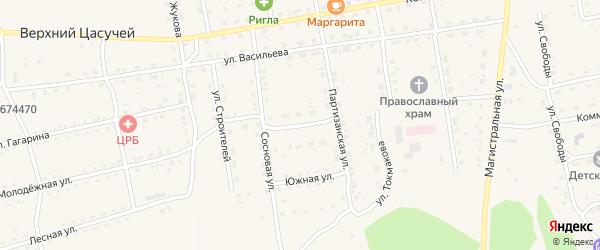 Весенняя улица на карте села Нижнего Цасучея Забайкальского края с номерами домов
