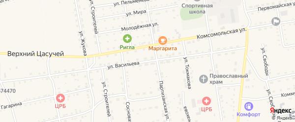 Улица Васильева на карте села Нижнего Цасучея Забайкальского края с номерами домов