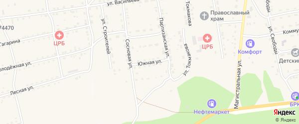 Южная улица на карте села Нижнего Цасучея Забайкальского края с номерами домов