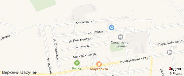 Улица Пельменева на карте села Нижнего Цасучея Забайкальского края с номерами домов