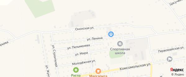 Улица Ленина на карте села Нижнего Цасучея Забайкальского края с номерами домов
