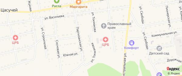 Улица Токмакова на карте села Нижнего Цасучея Забайкальского края с номерами домов