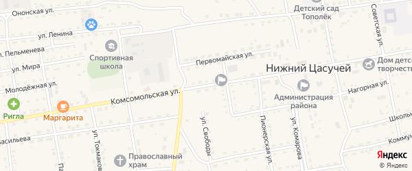 Комсомольская улица на карте села Нижнего Цасучея Забайкальского края с номерами домов
