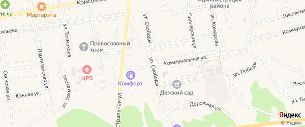 Улица Свободы на карте села Нижнего Цасучея Забайкальского края с номерами домов