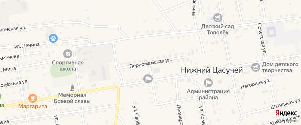 Первомайская улица на карте села Нижнего Цасучея Забайкальского края с номерами домов