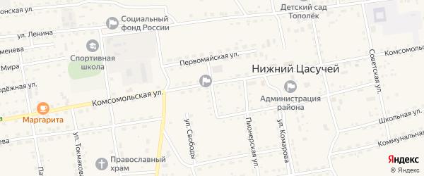 Октябрьская улица на карте села Нижнего Цасучея Забайкальского края с номерами домов
