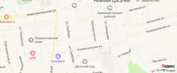 Юбилейная улица на карте села Нижнего Цасучея Забайкальского края с номерами домов