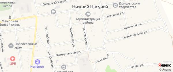 Улица Комарова на карте села Нижнего Цасучея Забайкальского края с номерами домов
