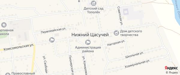 Улица имени Федотова на карте села Нижнего Цасучея Забайкальского края с номерами домов