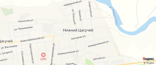 Карта села Нижнего Цасучея в Забайкальском крае с улицами и номерами домов