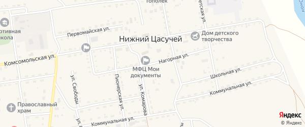 Нагорная улица на карте села Нижнего Цасучея Забайкальского края с номерами домов