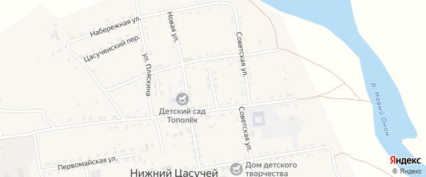Улица Бронникова на карте села Нижнего Цасучея Забайкальского края с номерами домов