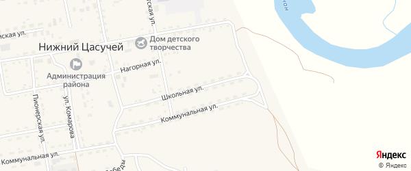 Школьная улица на карте села Нижнего Цасучея Забайкальского края с номерами домов