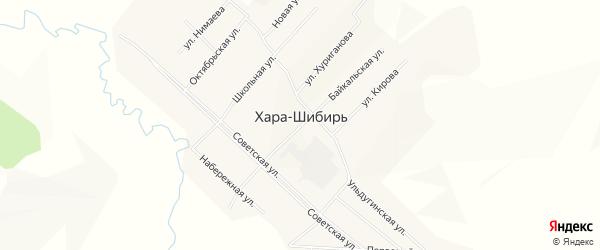 Территория Шазгатуй на карте села Хары-Шибири Забайкальского края с номерами домов