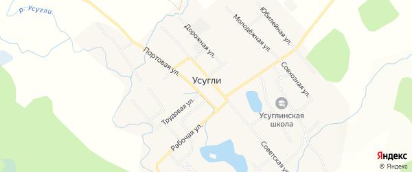 Карта села Усугли в Забайкальском крае с улицами и номерами домов