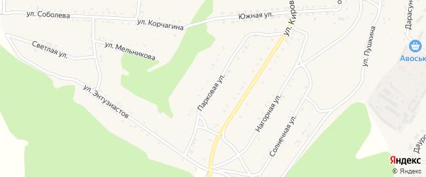 Парковая улица на карте Первомайского поселка Забайкальского края с номерами домов