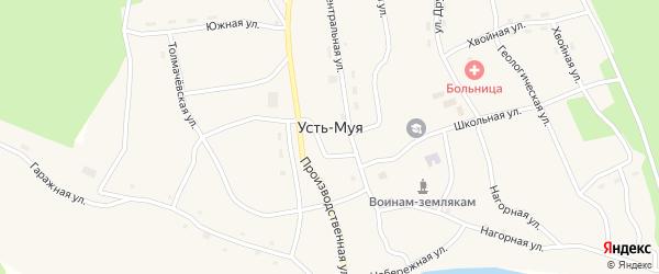 Гаражная улица на карте поселка Усть-Муя Бурятии с номерами домов