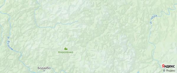 Карта Бодайбинского района Иркутской области с городами и населенными пунктами