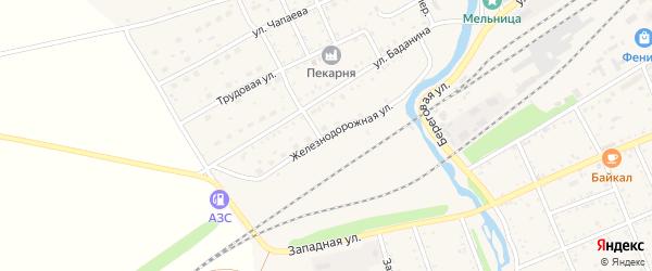 Железнодорожная улица на карте Шилки с номерами домов