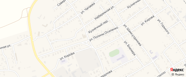 Улица Полины Осипенко на карте Борзи с номерами домов