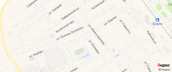 Улица Блюхера на карте Борзи с номерами домов