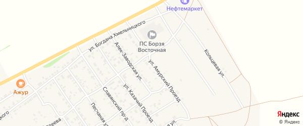 Улица Амурский проезд на карте Борзи с номерами домов