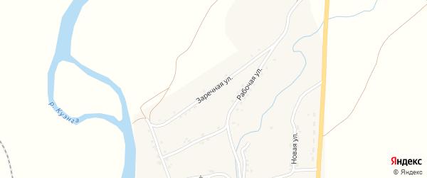 Заречная улица на карте села Верхней Куэнги Забайкальского края с номерами домов