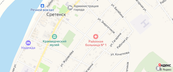 Улица Кочеткова на карте Сретенска с номерами домов