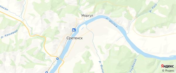 Карта Сретенска с районами, улицами и номерами домов: Сретенск на карте России