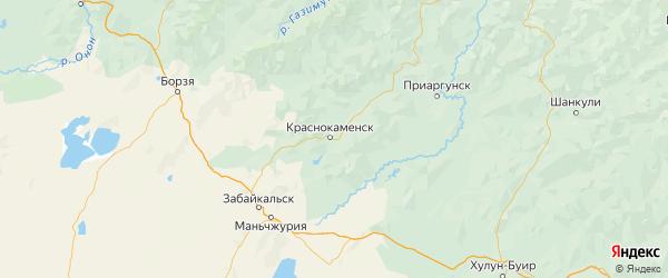 Карта Краснокаменского района Забайкальского края с городами и населенными пунктами