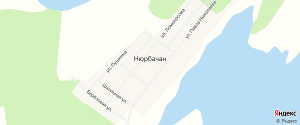 Карта села Нюрбачана в Якутии с улицами и номерами домов