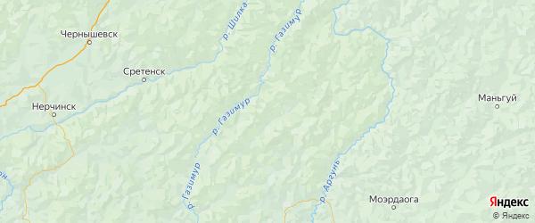 Карта Газимуро-заводского района Забайкальского края с городами и населенными пунктами
