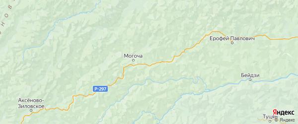 Карта Могочинского района Забайкальского края с городами и населенными пунктами