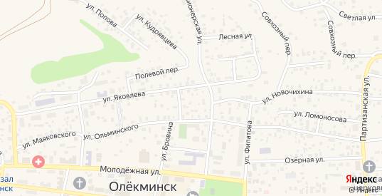 Весенний переулок в Олекминске с номерами домов на карте. Спутник и схема онлайн