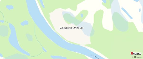 Карта села Средней Олекма в Забайкальском крае с улицами и номерами домов