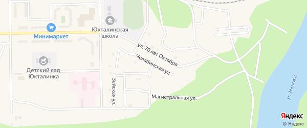 Челябинская улица на карте поселка Юктали Амурской области с номерами домов